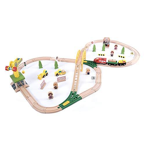 wuuhoo® I Holz-Eisenbahn Paulchen im Set für Kinder I Spielzeugeisenbahn aus Holz mit Zubehör I Kinder-Eisenbahn mit Kran, Brücke, Baumaschinen, Figuren und Pflanzen