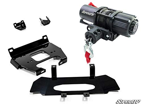 SuperATV 3500 lb Black Ops Winch with Heavy Duty Winch Mounting Plate for 2019+ Polaris RZR XP 1000 / RZR XP 4 1000 | Complete kit ready for install!