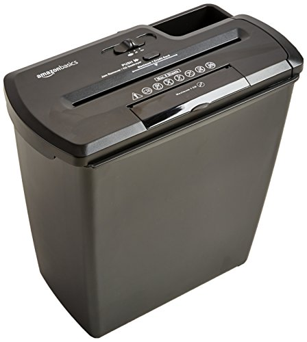 Amazon Basics 8-Sheet Strip-Cut Paper, CD and Credit Card Home Office Shredder