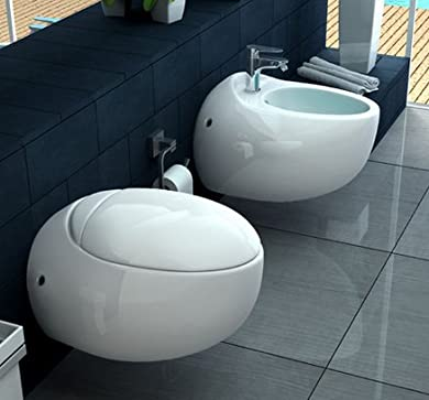 Foto di Sanitari Vaso WC e Bidet sospeso moderno ceramica Bagno Italia I