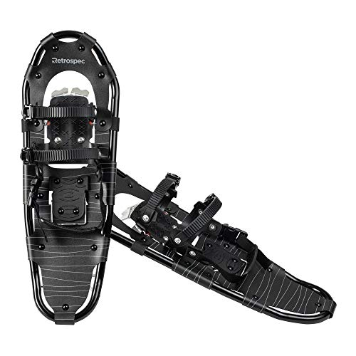 Retrospec Lynx Snowshoe for Men & Women, Aluminum All Terrain with Fully Adjustable Binding and Carry Bag, Black Ice, 25 in.