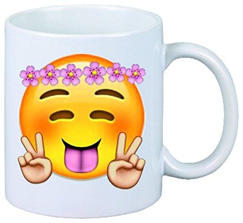 Druckerlebnis24 Tasse Fröhlicher Smiley mit Peace, Zunge Raus und Rosen auf Kopf aus Keramik - Größe: Ø8,5 H9,5 cm - Kaffeetasse - Teetasse - Weihnachtsgeschenkidee