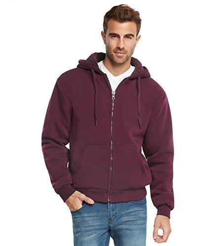 9 Crowns Essentials Mens Full Zip Sherpa Lined Fleece Hoodie Jacket-Burgundy-XL