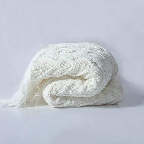 FUFU Mantas y mantitas Manta de tiro con la borla de punto suaves mantas for el sofá cama Silla Sofá hogar adorna grande del cable de punto suave manta acogedora, 52X63 pulgadas para todas las estacio