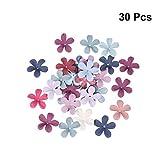 Amosfun Boda Accesorios Decorativos Cinco pétalos Flores 5 mm Adornos para el Pelo Hechos a Mano Accesorios para Sombreros Materiales de Bricolaje 30 Piezas (Color Aleatorio)