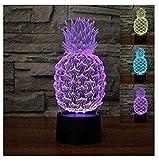 3D Illusion Piña Lámpara luces de la noche ajustable 7 colores LED Creative Interruptor táctil estéreo visual atmósfera mesa regalo para Navidad