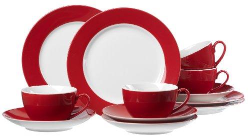 Ritzenhoff & Breker Kaffeeservice Doppio, 12-teilig, Porzellangeschirr, Rot