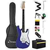 Donner Electric Guitar Kit Full Size 39 Inch Solid Body with Amplifier, Bag, Capo, Strap, String, Tuner, Cable and Pick (Sapphire Blue, DST-102L)