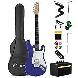 donner kit chitarra elettrica stratocaster chitarre elettriche da 39 pollici con amplificatore, borsa, capo, cinghia, corda, sintonizzatore, cavo e plettri (blu scuro, dst-100l)
