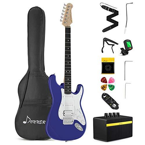 Donner Kit de Guitarra Eléctrica Stratocaster de Tamaño Completo con amplificador, bolsa, capo, correa, cuerda, sintonizador, cable y púas (Azul, DST-102L)