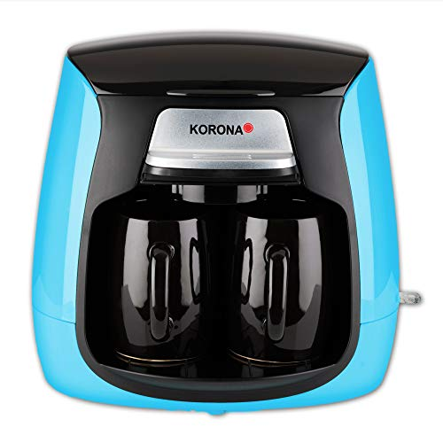 Korona 12207 Cafetera Compacta | Azul-Negro | incl. 2 Tazas de Cerámica | Filtro Permanente | Cafetera de 2 Tazas | Mini Cafetera