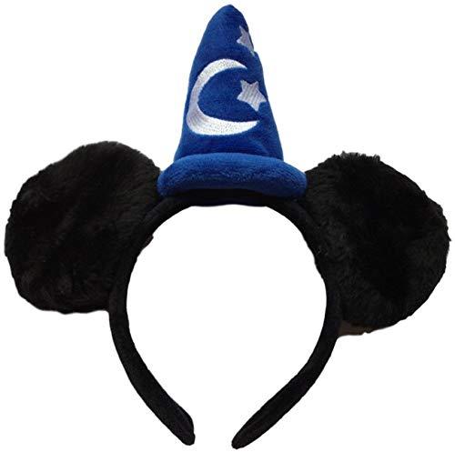 Magic Hat Minnie Mickey Mouse Wizard Orejas de peluche de color negro, azul y...