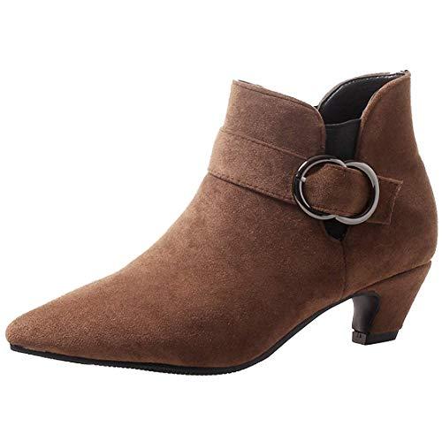 Etebella Damen Kitten Heels Ankle Boots Spitze Stiefeletten mit Blockabsatz und Schnalle Elegante Kleiner Absatz 4cm Schuhe (Braun,38)