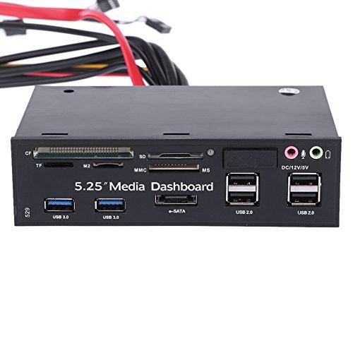 """KKmoon 13,33 cm (5,25"""") All-in-One Media, multisuperficie, Pannello frontale multifunzione USB 2,0 e lettore di memory Card USB 3,0, ESATA, SATA"""