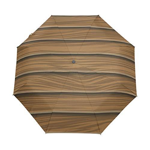 Parapluie de voyage compact en planches de bois - Pour extérieur - Coupe-vent - Protection contre les UV - Poignée ergonomique - Ouverture/fermeture automatique