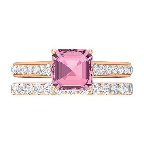 2.98 CT Pink Tourmaline Solitaire Ring, D-VSSI Moissanite Wedding Ring, 7 MM Asscher Cut Engagement Ring, Gold Bridal Ring Set, Side Stone Ring, 14K Rose Gold, Size:UK I1/2