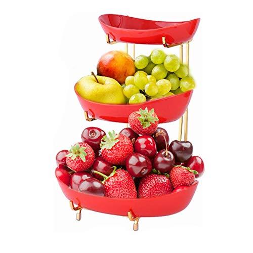 WUHUAROU Fruktkorg tidig korg murare 3 lager kreativ bänkskiva keramik frukt hylla hylla med fruktskål hjärta för fler vitaminer i din vardag