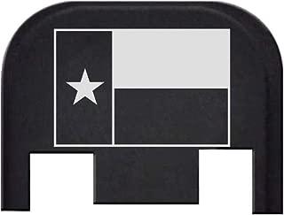 BASTION Laser Engraved Rear Cover Back Plate for Glock Gen 1,2,3,4 and 5; Model Compatibility in Description Below - Texas Flag