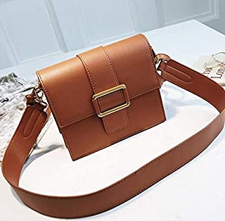 Adebie - Luxury Handbag 2019 Fashion Vintage New Simple Square Bag Nubuck Leather Women's Designer Handbag Retro Shoulder Messenger Bags 19 X 9 X 17 cm Brown []