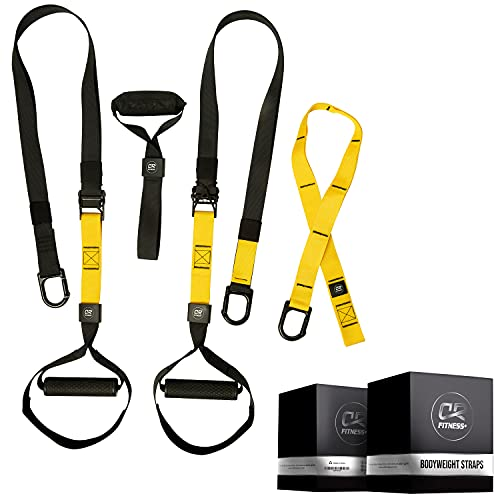 Home Suspension Training Kit – Suspension Trainers - 2 Adjustable Suspension Straps with Handles, 2 Extension Straps, Door Anchor – Supports Up to 400 Lbs