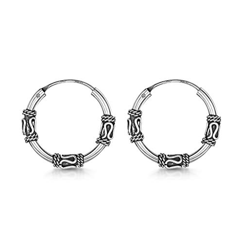 Amberta Fine 925 Sterling Silver - Circle Endless Bohemian Hoops - Round Sleeper Bali Tribal Earrings - Diameter Size: 20 mm - Zigzag