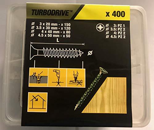 TurboDrive Yellow Steel Wood Screws Pack of 400/ (dia) 3mm 3.5mm 4mm & 4.5 mm (PZ1 & PZ2)