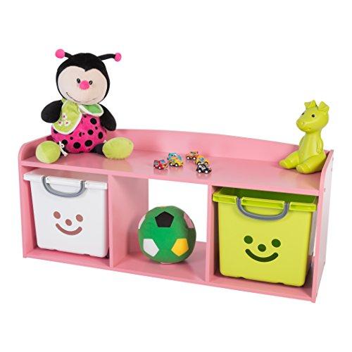 Iris Ohyama, cofre de almacenamiento para niño-Kids Bench-KBN-3 madera, rosa, 101,4 x 34 x 43,4 cm, 101.4x34x43.4 cm