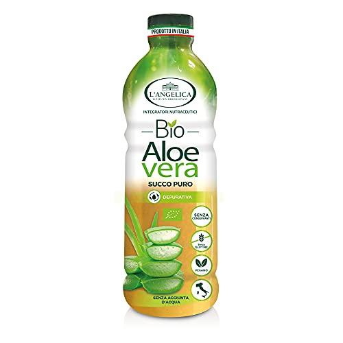 L'Angelica, Aloe Vera da Bere, Succo Puro di Aloe Vera Bio con Vitamina C, Integratore Depurativo e Digestivo senza Glutine, Vegan, 1 Litro - 6 Confezioni