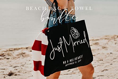 Gepersonaliseerde strandtas en handdoek bundel voor bruiden jonggehuwden of Bachelorette partijen