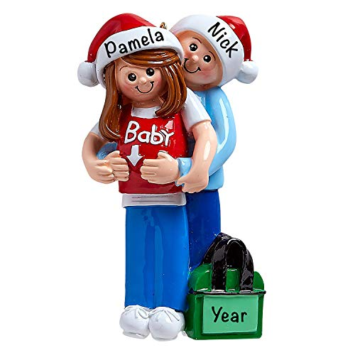 Personalized Christmas Ornaments Pregnancy Keepsake – Baby Bump Expecting Couple Ornament 2021 Personalized Ornaments for Christmas – Polyresin Expecting Christmas Ornament and Mother to Be Ornament