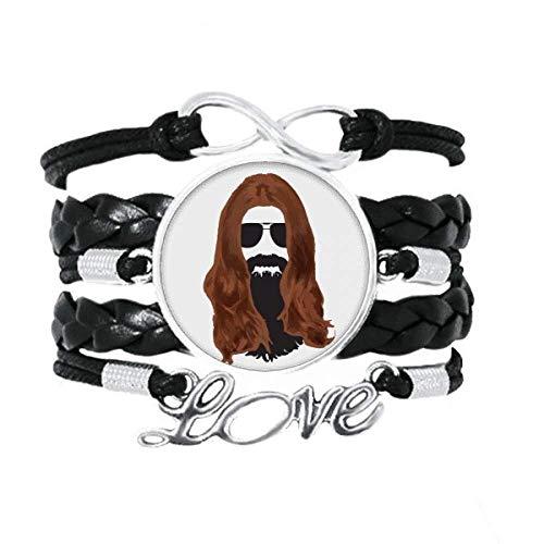 OFFbb-USA - Pulsera de pelo largo para hombre y mujer con gafas de sol para barba