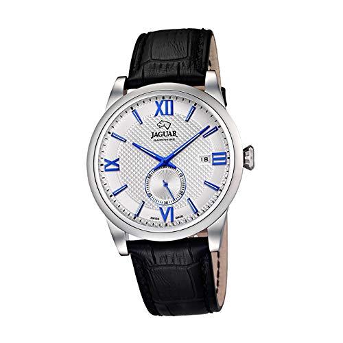 JAGUAR Reloj Modelo J662/5 de la colección ACAMAR, Caja de 42,5 mm Blanco con Correa de Piel Negro para Caballero