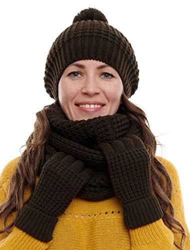 Hilltop Winterset 3-Teilig bestehend aus Loop-Schal, Strickmütze und Handschuhen, Damenschal als Winter-Schal, Strickschal mit passender Damen Mütze (Dark Brown)