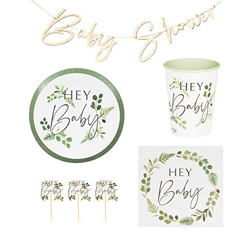 BABY BOTANICAL KLEED BABY BOTANICAL 45 delen decoratieset baby-shower-party met bladerkrans & ranken groen & wit baby-party-deco set baby-shower-party geboorte meisjes & jongen slinger servetten bord decoratieve accessoires doop