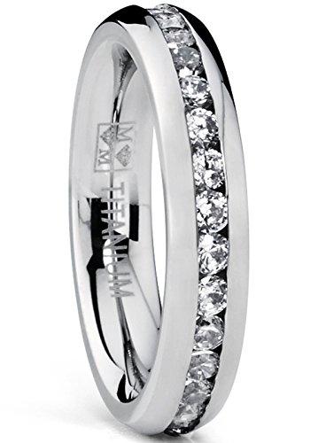 4MM High Polish Ladies Eternity Titanium Ring Wedding Band with Cubic Zirconia CZ Size 6