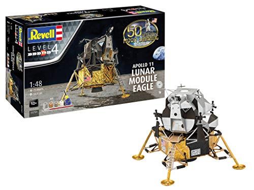 Revell- Apollo 11 Lunar Module Eagle, Escala 1:48 Kit de Modelos de plástico, Color Blanco (03701)