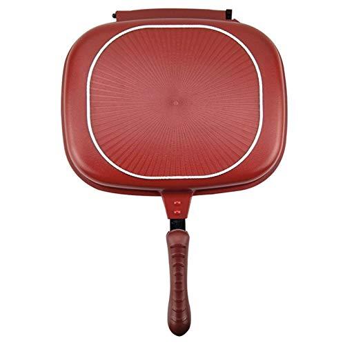 WUCHENG 32 cm Doppio Lato frittura Padella Antiaderente frittata Padella con Rivestimento in Ceramica Pancake Maker per Le pentole da Cucina domestiche pentole (Color : Red)