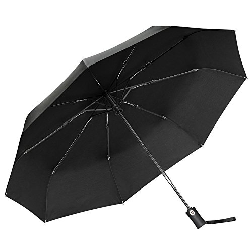 Regenschirm Gritin Taschenschirm Automatik schirm 10 Edelstahl-Rippen stetig windsicher bis 140 km/h Stabiler windsicher Leicht kompakt Auf-Zu-Automatik Tasche & Reise