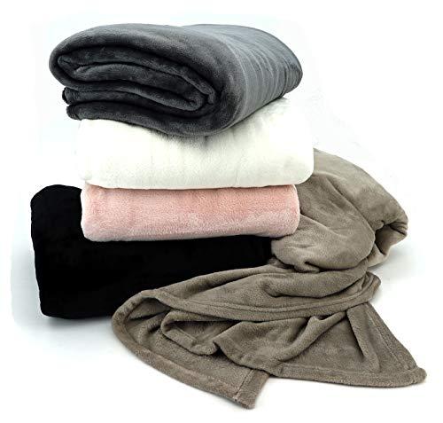 heimtexland ® Flanell Wohndecke Cashmere Touch 220x180 Kuscheldecke XXL Pärchendecke Super Soft ÖKOTEX schwarz Typ586