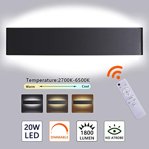 Applique Murale D'intérieur Dimmable, Avec Télécommande 20W 2700K-6500K Applique Murale Tricolore à Température Variable, 2W Avec Mode Veilleuse 220V 1800LM 40CM (noir)