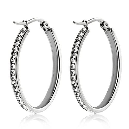 SMEJS Pendientes de acero inoxidable exagerados Joyas de círculo de arco grande con cristal Mujer Elegante, simple, moderno, clásico, elegante, color acero 40 mm