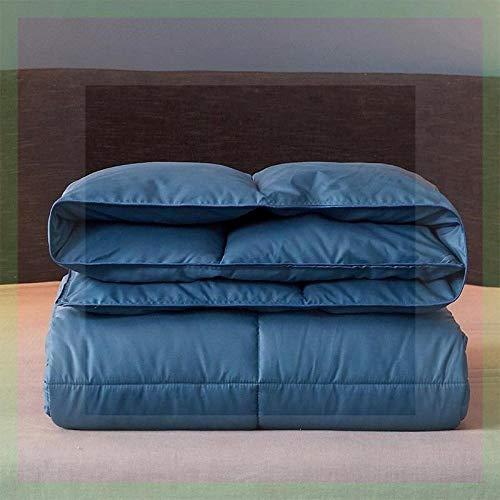 CHOU DAN Bettdecke 95 weiße Gänsedaunen Winterbettkern doppelt warme Einzeldecke-180 x 220 cm 4000 g_Navy blau