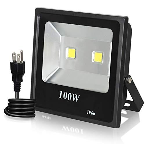 HOMZYY 100W LED schijnwerper voor buiten, veiligheidslicht, waterdichte schijnwerper voor tuin, binnenplaats, gazon, terras, veranda, 6000 K daglicht wit