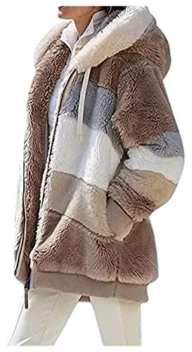joyvio Womens Teddy Fleece Rits Zachte Pluizige Winter Dikke Warme Open Front Vest Parka Jas Uitloper Capuchon Met Zak