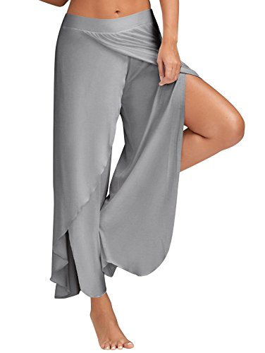 GUOLEZEEV Women Palazzo Gaucho Pants Casual Loose Wide Leg Trousers Grey XXXL