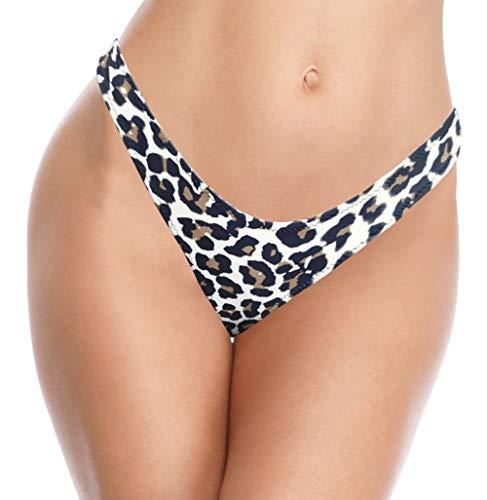 SHEKINI Traje de Baño para Mujer Bikini Pantalones de Baño Cintura Baja Brasileño Braguitas de Bikini Tanga Sexy Pantalones de Bikini de Playa (Leopardo, S)