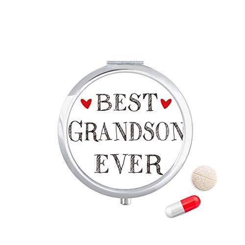 DIYthinker Best Grandson Ever citat släkt resa ficka pillerfodral medicin läkemedel förvaringsbox dispenser spegel gåva