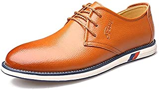 FYKHVF Men's Casual Flat Front lace-up Leather Shoes Shallow Mouth Loafers