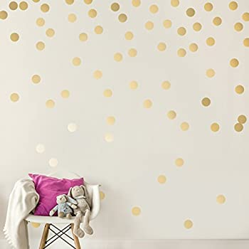 Easy Peel + Stick Gold Wall Decal Dots - 2 Inch  200 Decals  - Safe on Walls & Paint - Metallic Vinyl Polka Dot Decor - Round Circle Art Glitter Stickers - Large Paper Sheet Baby Nursery Room Set