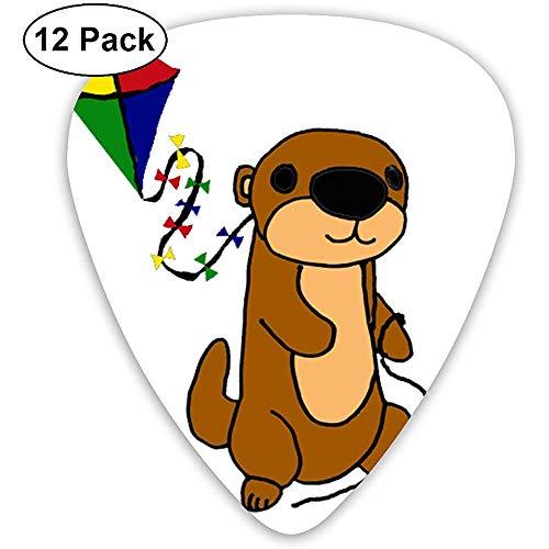 Cute Sea Otter Flying Kite Cartoon Púas de guitarra Plectrums Guitarras acústicas Ukulele Picks 0.46 mm, 0.73 mm, 0.96 mm, paquete de 12